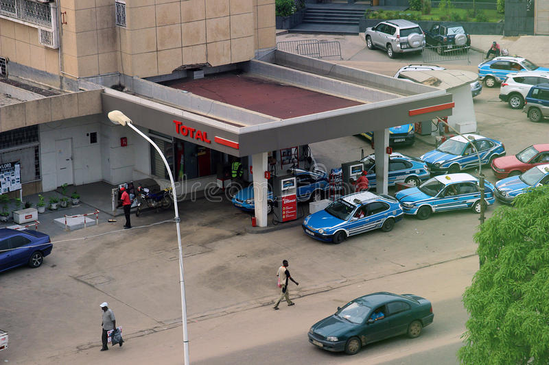 A gas station in Pointe-Noire. A gas station in the city of Pointe-Noire, Congo Republic, february 2015 royalty free stock photos