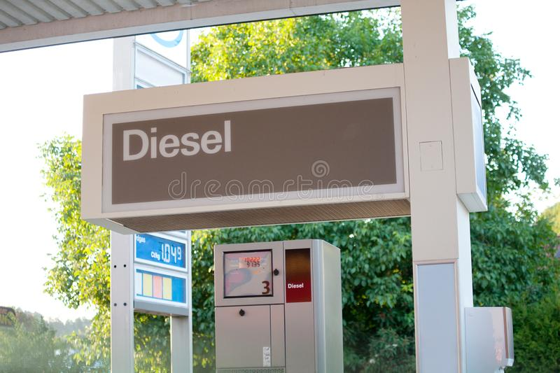 Gas station pump in germany focus on diesel.  royalty free stock image