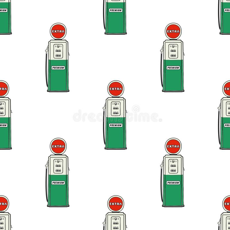 Gas station pump seamless design. Vintage hand drawn oil station pattern. Stock vector background isolated on white.  stock illustration