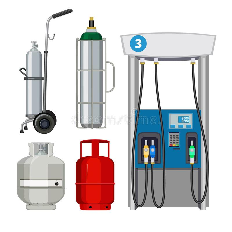 Gas station. Pumping petrol types metal tank cylinders vector illustrations of petrol pumps stock illustration