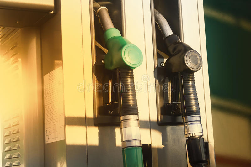 Gas station pumps stock photo