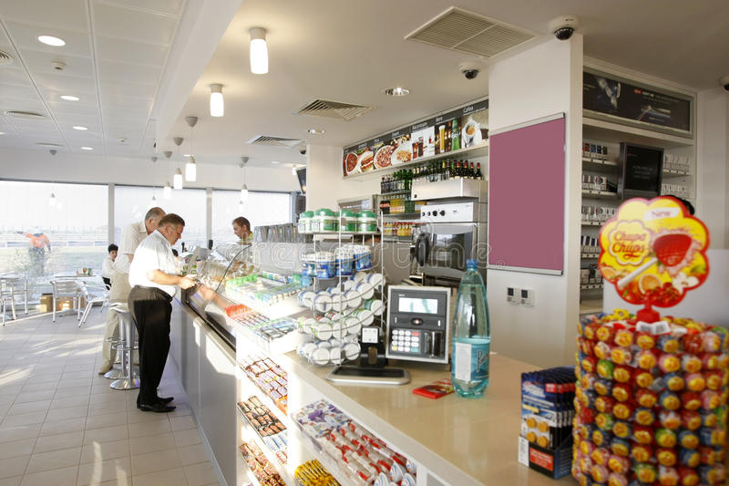 Gas station shop interior stock photography