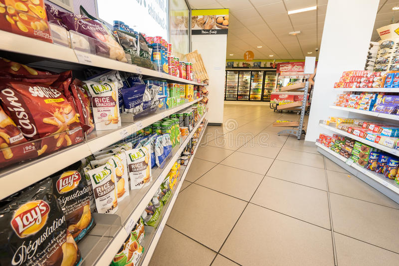 Gas station store interior. In France. Photo taken on: Septembre 12, 2015 stock photo