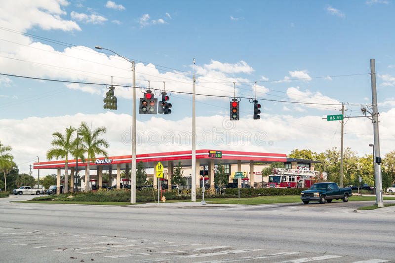 Gas station on Tamiami Trail, Fort Myers, Florida. Gas station and traffic lights at intersection US 41 Tamiami Trail and Edison Ave in Fort Myers, Florida, USA stock image