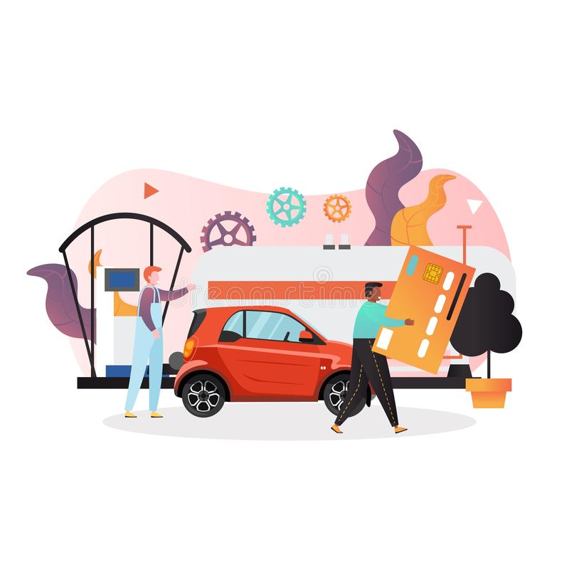 Gas station vector concept for web banner, website page. Purchase fuel using credit card, vector illustration. Gas station concept with characters worker and stock illustration