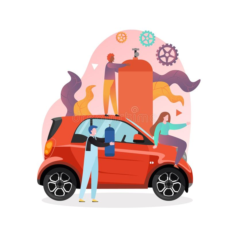 Gas station vector concept for web banner, website page. Young woman driver sitting on red automobile, workers with gas fuel balloons, vector illustration. Gas vector illustration