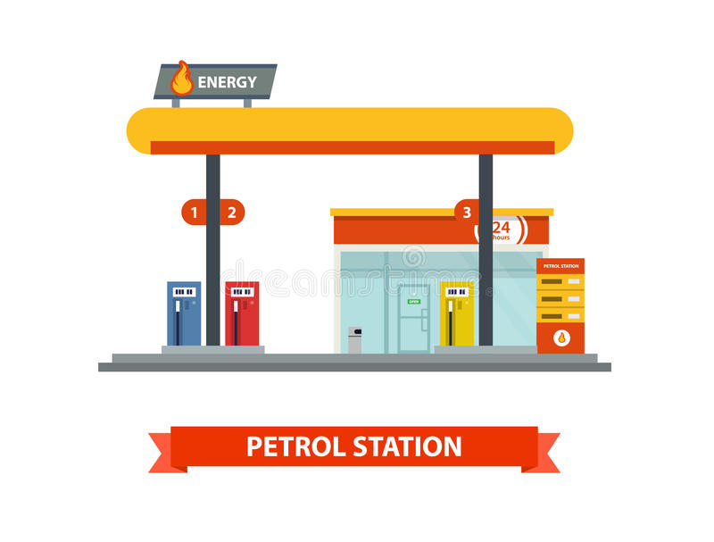 Gas station Vector flat illustration. royalty free illustration