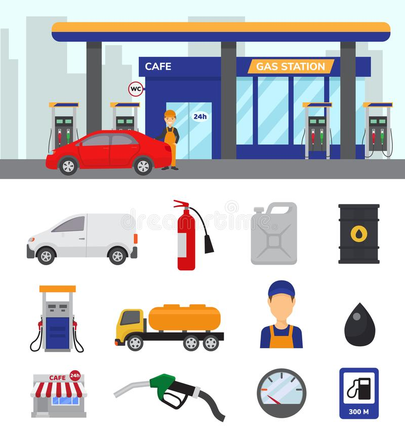 Free Gas Station Vector Gasoline Fuel Or Petrol And Diesel For Fueling Cars Illustration Set Of Transportation Refuel Icons Stock Photography - 111886762