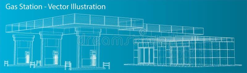 Gas Station. Wire frame vector illustration royalty free illustration
