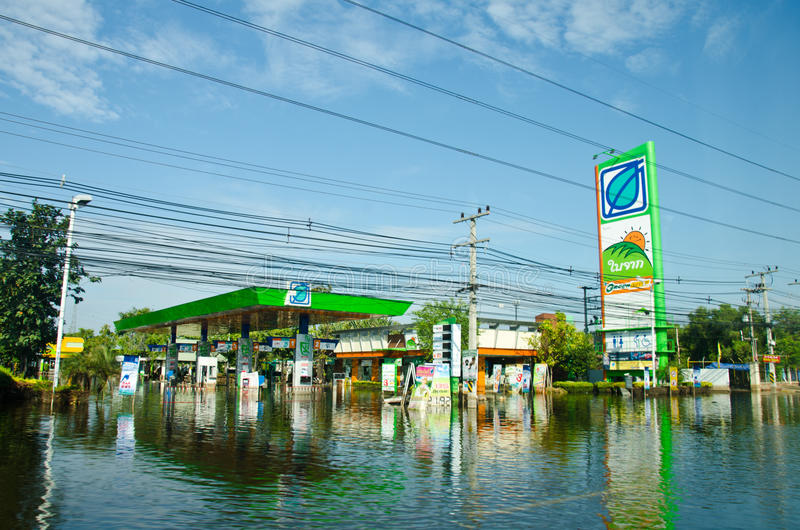 Gas stations during its worst flooding. PATHUM THANI THAILAND – NOVEMBER 14: Gas station in Pathum Thani during its worst flooding in decades is a major stock images