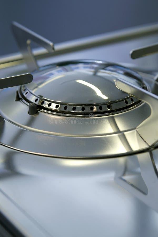 Gas stove burner hob close-up. Brand new stock photo