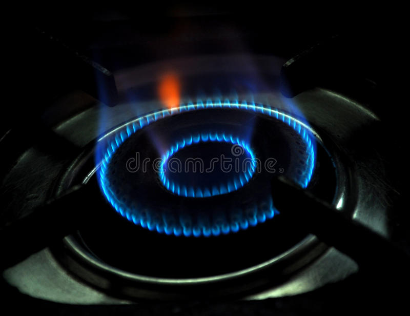 Gas stove flame royalty free stock photography