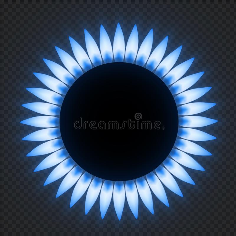 Gas stove flame. Realistic blue fire light effects. Vector burner plate flame isolated on transparent background royalty free illustration