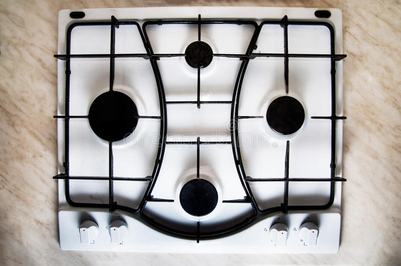Gas stove top view stock image Image of white domestic 70630601