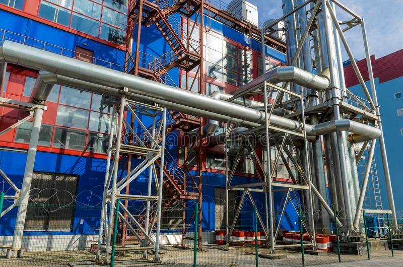 Gas substation, boiler and heating system to provide heat and electricity royalty free stock photo