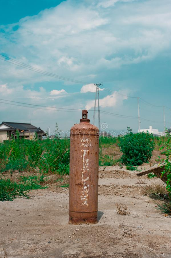 Gas tank after Fukushima Tsunami Disaster in Ishinomaki, Japan. Fukushima Tsunami disaster happened on March 11 in 2011. In March Sendai area royalty free stock images