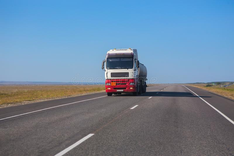 Gas-Tank Truck Goes on Highway stock photography