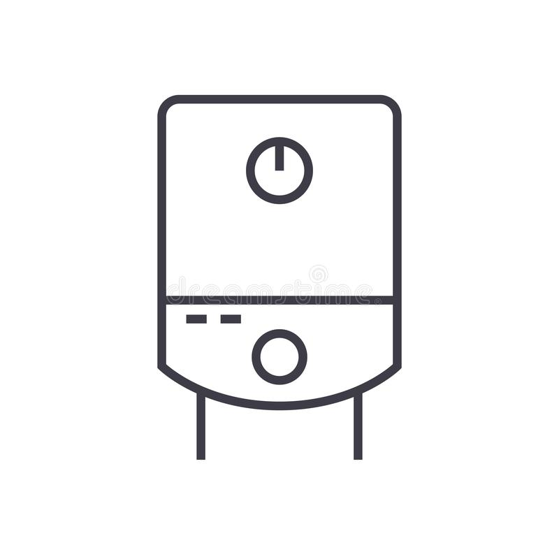 Gas tank, water boiler vector line icon, sign, illustration on background, editable strokes vector illustration