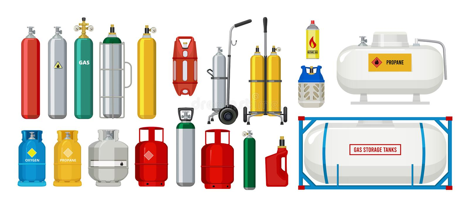 Gas tanks. Compressed oxygen propane dangerous cylinder tanks vector cartoon collection. Propane in cylinder, compressed gas illustration vector illustration