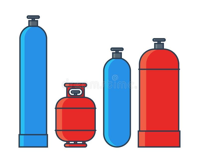 Gas tanks set. Various gas tanks in flat line style. Vector illustration stock illustration