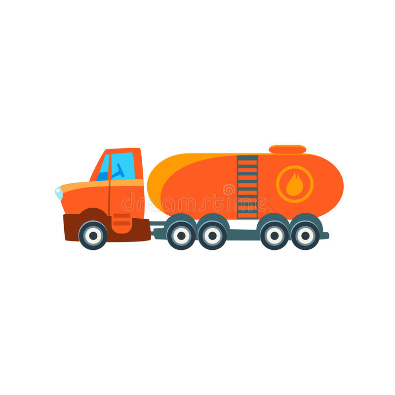 Gas Truck Toy Cute Car Icon. Flat Vector Transport Model Simple Illustration On White Background stock illustration