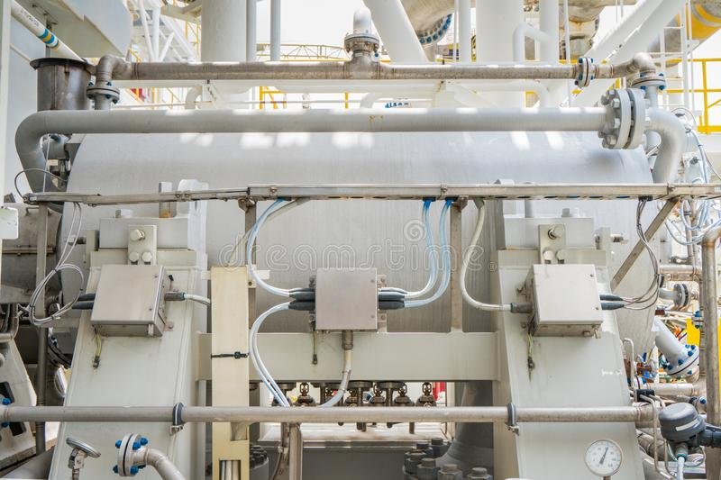 Gas turbine compressor, centrifugal and multi stage type of gas compressor and piping. royalty free stock photo