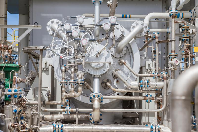 Gas turbine compressor centrifugal and multi stage type of gas compressor and piping instrument tubing use in oil and gas industry stock photography