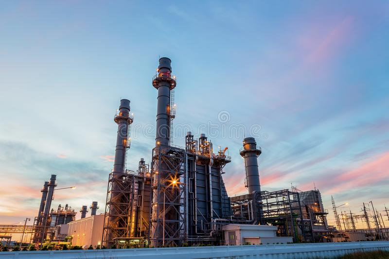 Gas turbine electric power plant with twilight is support all factory in amata nakorn. Industrial estate stock images