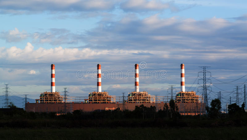 Gas turbine electrical power plant stock photography