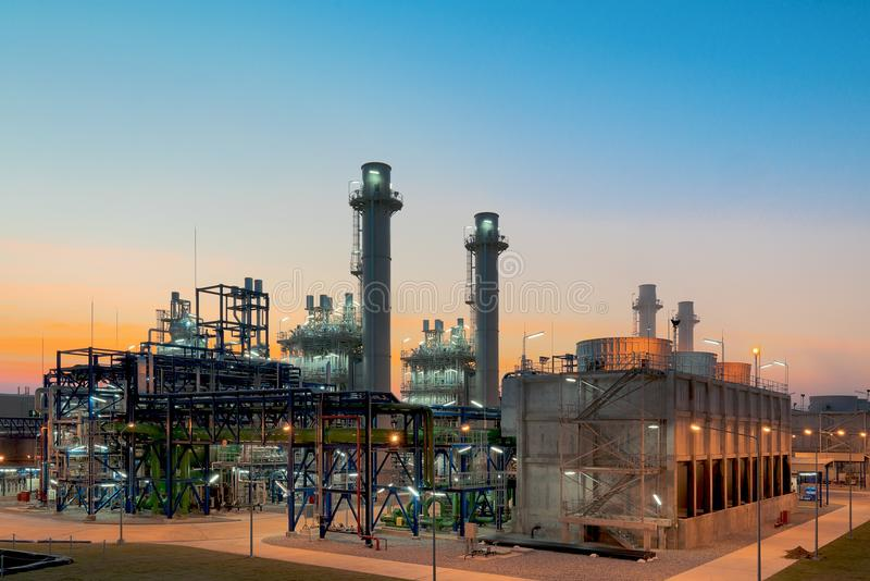 Gas turbine electrical power plant at dusk with blue hour.  stock photo