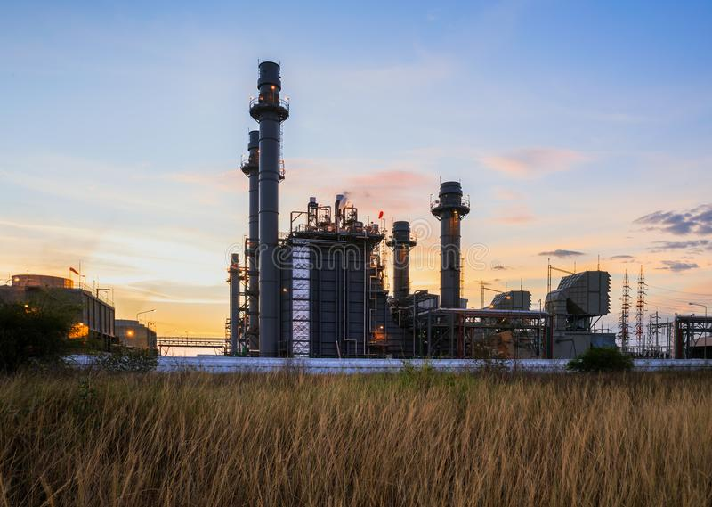 Gas turbine electrical power plant in the morning. Gas turbine electrical power plant with twilight is support all factory royalty free stock image