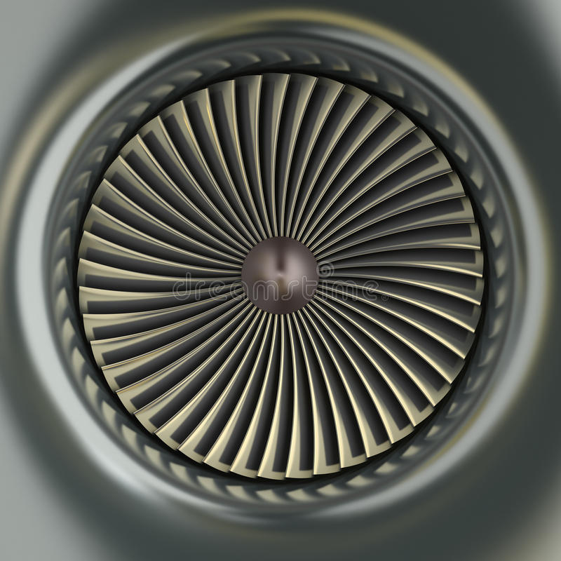 Gas Turbine Jet Engine. 3D image stock illustration
