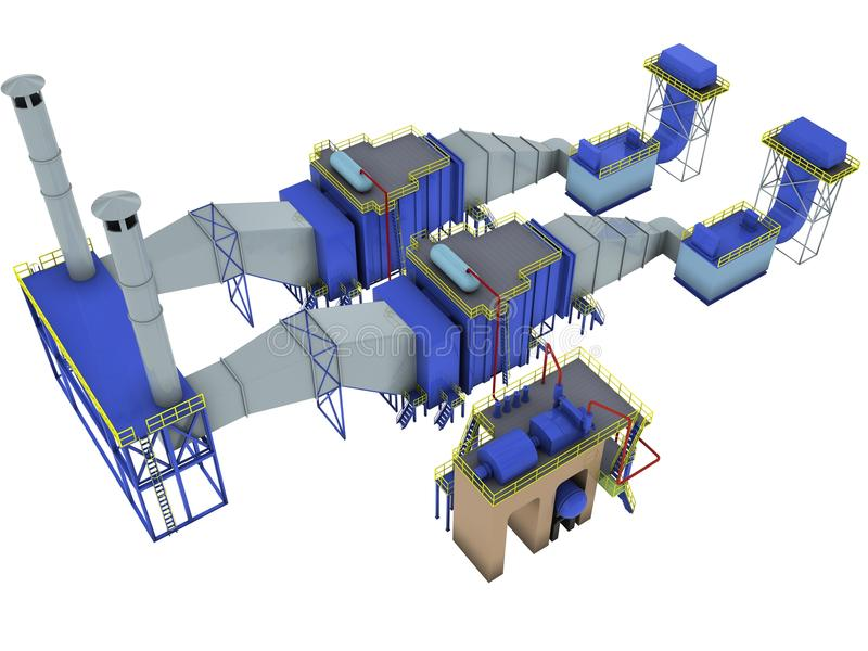 Gas-turbine power plant. 3d render isolated on white royalty free illustration