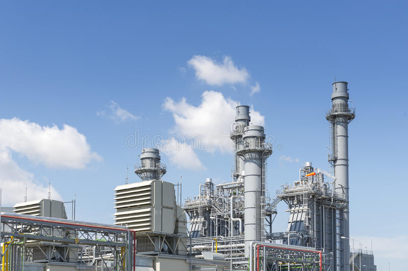 The gas turbine power plant for industrial park royalty free stock image