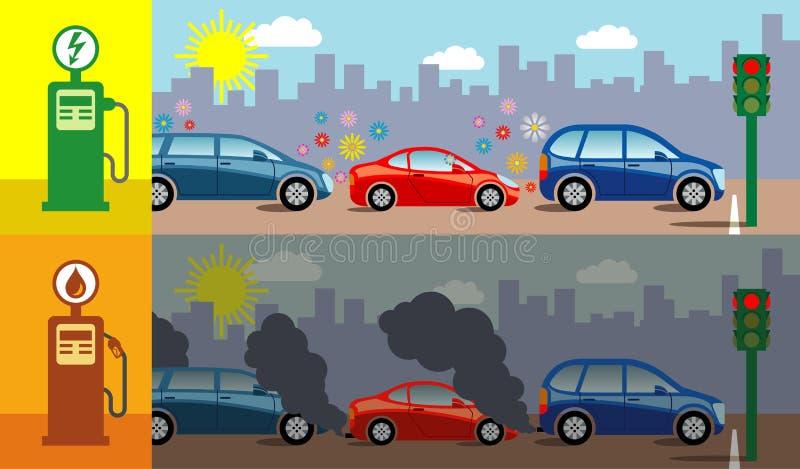 Gas vs elektriska bilar stock illustrationer