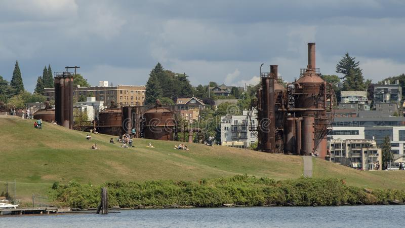 Gas Works Park, Seattle, Washington, on the site of the former Seattle Gas Light Company gasification plant. Pictured is the Gas Works Park, Seattle, Washington stock image