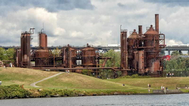Gas Works Park, Seattle, Washington, on the site of the former Seattle Gas Light Company gasification plant. Pictured is the Gas Works Park, Seattle, Washington royalty free stock image