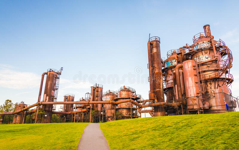 Gas Works Park in sunny day almost sunset, Seattle,Washington,USA.  stock images