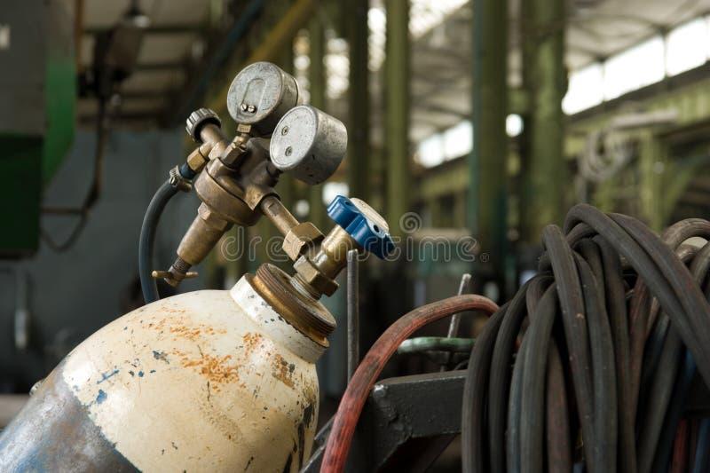 Gas-Zylinder und Druckanzeiger stockfoto