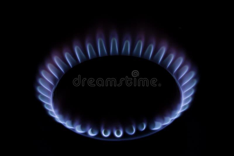 Gasa ugnen flammar royaltyfri bild
