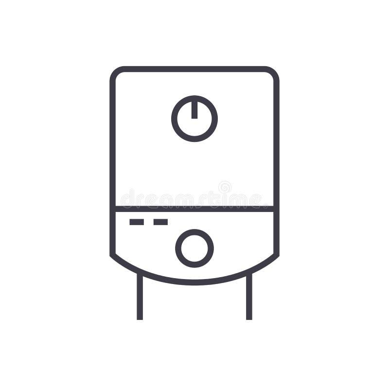 Gasbehållare, linje symbol, tecken, illustration för vektor för vattenkokkärl på bakgrund, redigerbara slaglängder vektor illustrationer