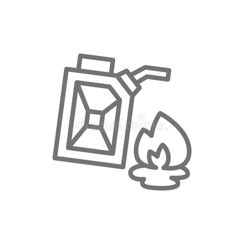 Gasbensinkanister, bränsle, brandlinje symbol stock illustrationer