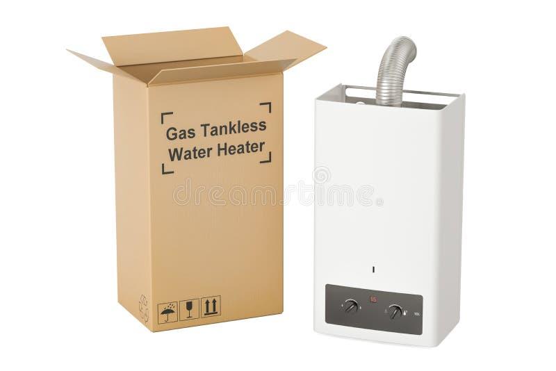 Gasen Sie tankless Warmwasserbereiter mit Pappschachtel, Lieferungskonzept lizenzfreie abbildung