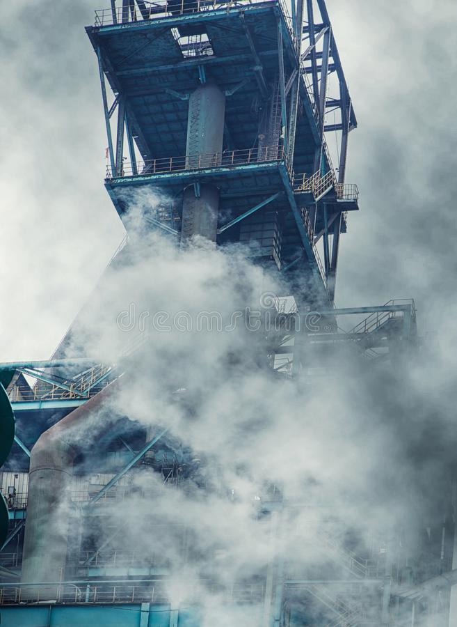 Gaseous emission. A lofty platform royalty free stock images