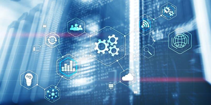 Gases CogWheel abstracto concepto de la industria de automatización de la tecnología empresarial de un centro de datos moderno y  imagen de archivo libre de regalías