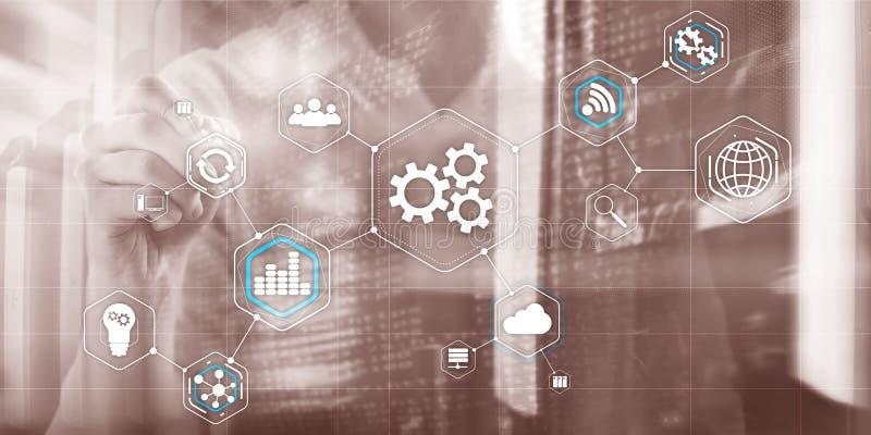 Gases CogWheel abstracto de la industria de la automatización de la tecnología de fondo 4 0 concepto de fondo urbano moderno borr fotos de archivo