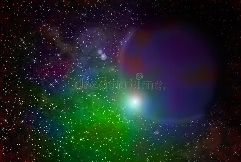 Gasförmige Nebelflecke und Planet lizenzfreie abbildung