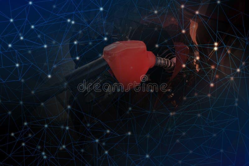 Gasfüllung im Schwarzen im Hintergrund, die Wissenschaft des Funkelns stockfoto