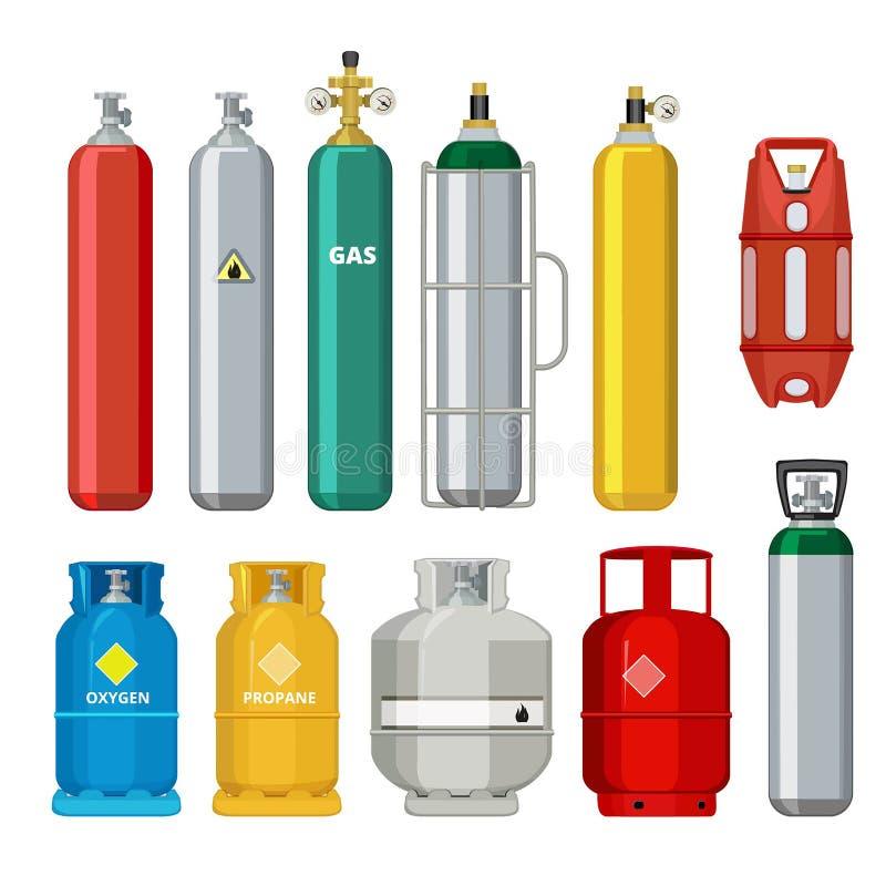 Gasflascheikonen Erdölsicherheitsbrennstoff-Metallbehälter von den Heliumbutanacetylenvektor-Karikaturgegenständen lokalisiert vektor abbildung