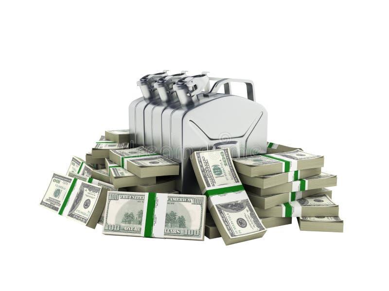 Gasflaschen umgeben durch 100 Dollarbanknotenrollen Konzept von Benzinpreise Gasflasche im Stapel von amerikanischen Dollarschein vektor abbildung